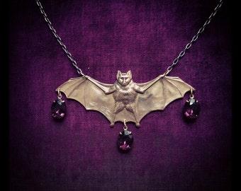 Bejeweled Bat Necklace