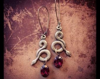 Ruby Serpent Earrings