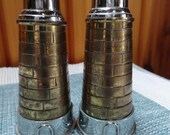 Tower or Lighthouse Look Chrome and Brass Salt and Pepper