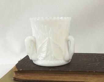 Westmoreland Swan Toothpick Holder, White Milk Glass, Vintage Kitchen