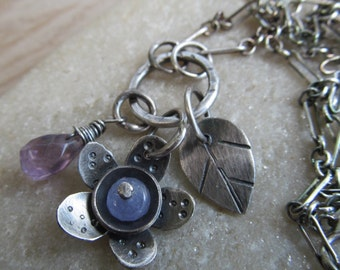 Purple Gemstone Flower Necklace Silver Flower Charm Cluster Gemstone Pendant Purple Flower charm Necklace Teen Gift Boho Silver Jewelry
