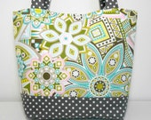 Pink and Aqua Modern Floral Large Tote Bag Diaper Bag with Pockets
