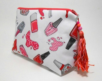 Large Make Up Bag, White Stand Up Cosmetic Pouch with Tassel Zipper Pull, Nail Polish Theme