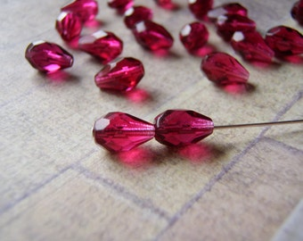 Fuchsia Beads Fire Polished 10 x 7 mm Faceted Teardrop 10 Beads