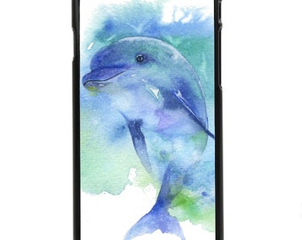 """Phone Case """"Playful"""" - Dolphin, Sea Animal, Fish, Smart, Friendly, Playful Animal, Watercolor Painting By Olga Cuttell"""