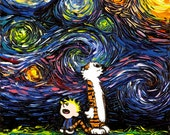 Calvin and Hobbes Art METAL print What If van Gogh Had An Imaginary Friend starry night Aja 8x8, 10x10, 12x12, 16x16, 20x20, 24x24, 30x30