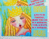 "Mermaid Postcards Set of 4 Print from Colored Pencil Drawing by RememberMeEmily 4"" x 6"""