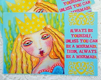 """Mermaid Postcards Set of 4 Print from Colored Pencil Drawing by RememberMeEmily 4"""" x 6"""""""