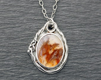 Brown Plume Agate and Sterling Silver Botanical Necklace Vine Pendant