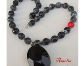 Amelia Handmade Lampwork, Agate and Onyx Necklace