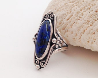 Blue Sodalite Stone Ring, Size 6 1/4 Sterling Silver Silversmith Ring, Metalsmith Floral Ring, Long Scroll Ring with Flowers Bohemian Ring