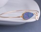 Gold Druzy Bangle Bracelet, Personalized Druzy Jewelry, Blue Druzy Bangle with Charms