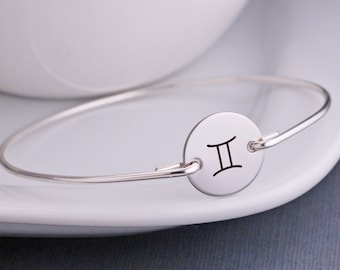 Personalized Gemini Jewelry, Personalized Zodiac Bangle Bracelet, May June Birthday Gift
