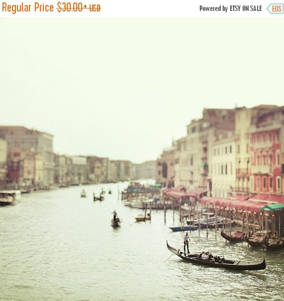 SALE - Italy Art, Venice Photography, Grand Canal Gondolas, Dreamy Romantic Travel Photography, Pastel Mint Green, Venice Italy 8x8