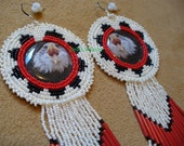 Native American Style Rosette stitched Eagle Wedding Basket earrings
