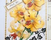 3D Handmade Thank You Card, Blank Card, Floral Card, Lily Card, Thank You Greeting Card, Three Dimensional Card, Gratitude Card