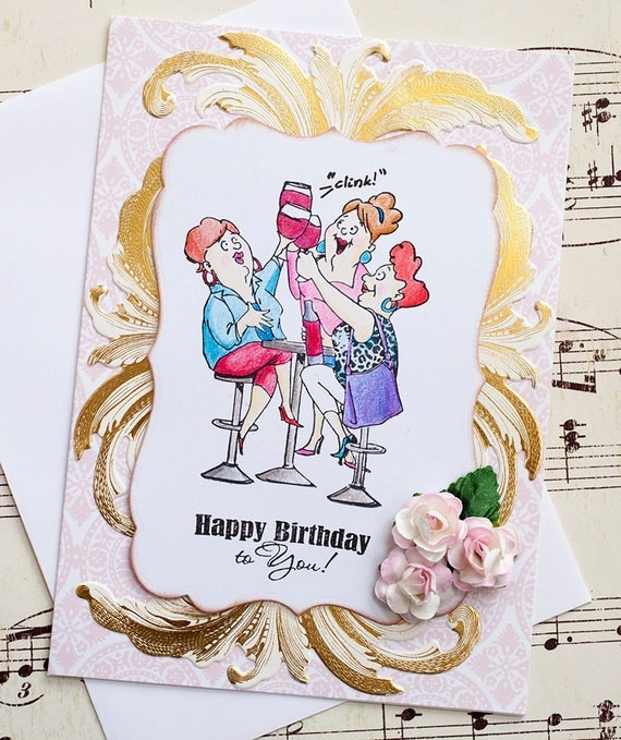 Funny Birthday Card Old Ladies Card Wine Lovers Card