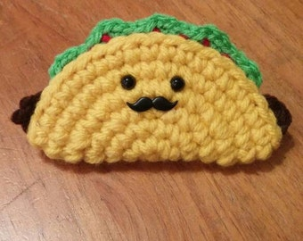 Mustache Taco Mini Plush Keychain or Ornament