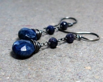 Blue Sapphire Earrings Long Earrings Dangle Earrings September Birthstone Earrings Oxidized Sterling Silver Earrings Gift for Her