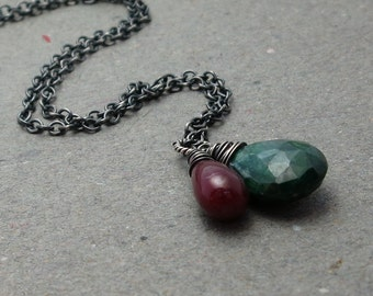 Emerald, Ruby Necklace July, May Birthstone Pendant Oxidized Sterling Silver Necklace Holiday Jewelry