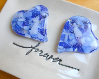 Pair of Fused Glass Hearts
