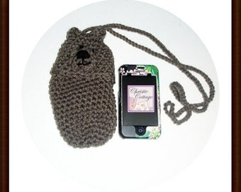 Bear Cell Phone Pouch - Crocheted - Camera - Bottle Case Ready to Ship (Cozy,Case,Holder)