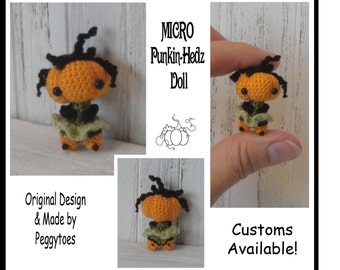"ANYDAY 1"" Micro Miniature Pumpkin Handmade Crochet Doll Any Color 3 Sizes MADE-to-ORDER Boy or Girl"
