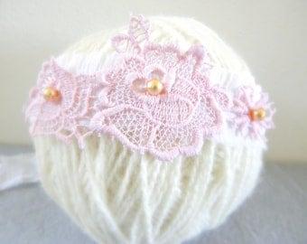 Newborn headband tie back head wrap photo photography prop baby girl cream white pink flower rose faux golden brown pearls