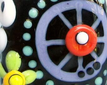 Wagon Wheel Square-Handmade Lampwork Bead