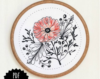 POPPY POWER - pdf embroidery pattern, embroidery hoop art, flower power, california wildflower, tattoo style, black work, coral pink poppy