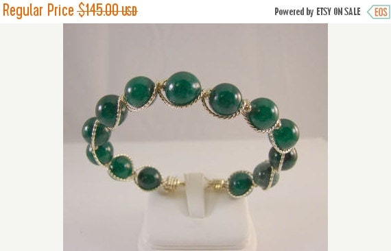 SRAJD End of Summer Sale Hunter Green Beads & STERLING SILVER Bracelet