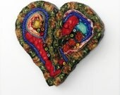 Heart Brooch or Pendant//LIPSTICK EARTH Heart Pin//Rag Sky Art Studio//handcrafted jewelry//unique textile art//Earth Tones//red and blue