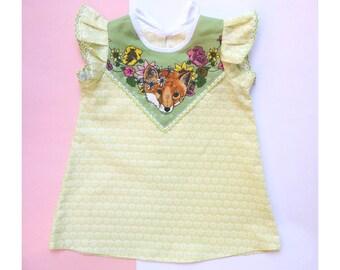 Minty fox baby girl's dress READY TO SHIP Supayana