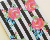 NEW fabric! BABY/TODDLER size SewSara Name Blanket- personalized minky blanket - striped floral