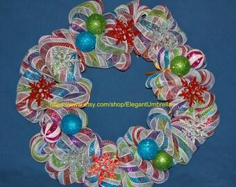 "24"" Christmas/Holiday Deco Mesh Wreath"