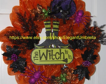 Halloween The Witch Is In Mesh Wreath