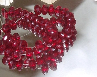 20 Facet Czech Glass Fire Polish Garnet Red Donut- 4x7mm- Bastet's Beads