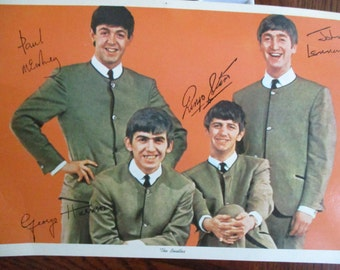 Beatles 1964 Color Promo Post Card with Stamped Paux Autographs