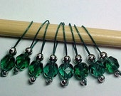 Teal Green Stitch Markers On Forest Green Wire - US 10 - Item No. 453