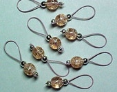 Pink Crackle Glass Stitch Markers on Blush Pink Wire -  US 5 - Item No. 550