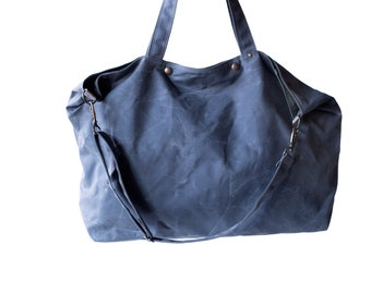 Waxed Canvas Tote - The Porter in Slate Blue
