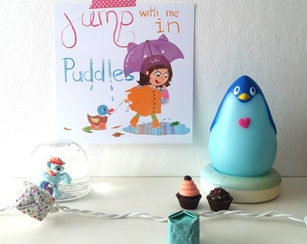 Affiche - Jump with me in puddles - pun - print - children print