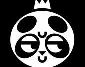 "Dubious Panda Art Print, Kawaii Panda with Crown, Prince or Princess Animal Artwork, Black and White 12""x12"" Square Print"