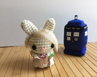 The Doctor Moon Bun - Fifth Doctor Amigurumi Bunny Rabbit - Peter Davison
