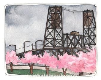 Art Print - Steel Bridge Art Print - Portland Oregon Art - Steel Bridge Art - 8x10 Art Print - Portland Steel Bridge Print - Portland Spring