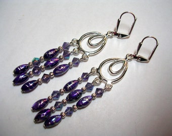 Purple Chandelier Earrings Mother of Pearl Crystal Silver Plate Leverback Hooks Shell Chadelier Earrings