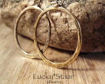Oasis Hoop Earrings, Antiqued Gold Hammered Earrings For Her (ID-121215c)