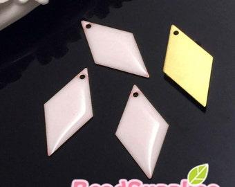 CH-EX-08060PP -  Raw brass, diamond charm, pale pink, 6 pcs
