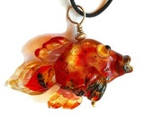 Shiny red & amber glass fish necklace, Lampwork Glass Beads, handmade animal pendant, focal bead, ocean bead, designer jewelry supplies