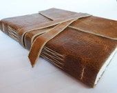 Writer's Journal - distressed brown leather journal or sketchbook